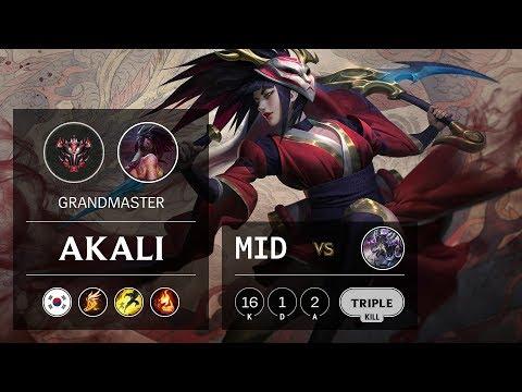 Akali Mid vs Kassadin - KR Grandmaster Patch 9.21