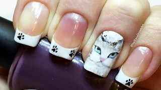 My Cat inspired Nail Art Tutorial / Дизайн Ногтей акриловыми красками (рисунки на ногтях)(Всем привет! Сегодня я покажу как сделать наклейку для дизайна ногтей, с вашим рисунком от руки. В роли модел..., 2015-11-30T21:53:52.000Z)