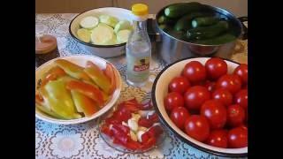 Ассорти из овощей на зиму. Овощное ассорти. Delicious assorted vegetables.