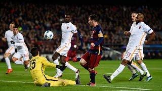 Barcelona vs as roma 24.11.2015 luis suarez goal 15 lionel messi 18 44 gerard pique 56 60 adriano correia 77