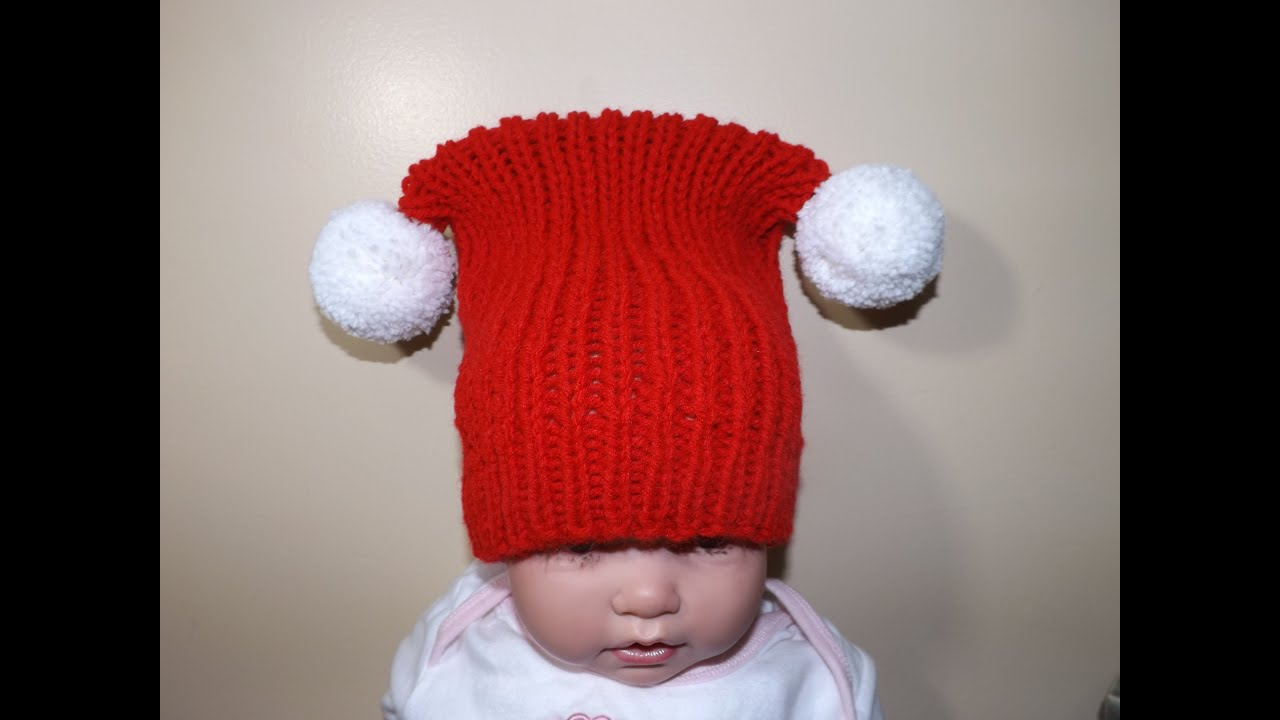 How to Knit Square Christmas Hat - YouTube