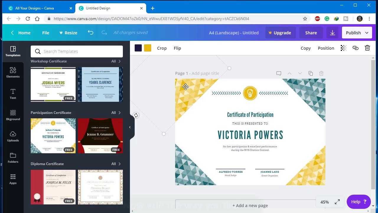 make certificates online free