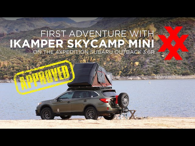 iKamper Skycamp Mini Rooftop Tent First Camp on Subaru Outback with Prinsu Roof Rack