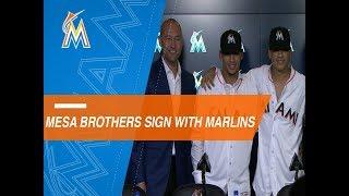 Marlins introduce Mesa and Mesa Jr.
