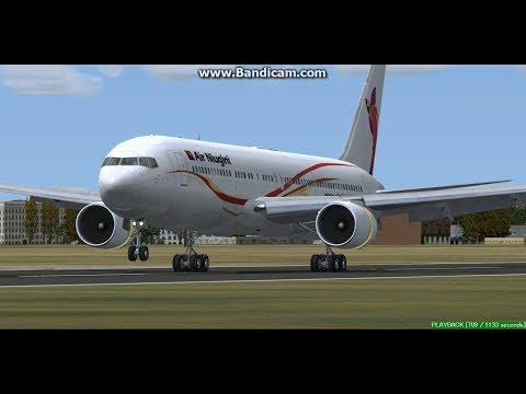 Air Niugini B767 Brisbane Airport  YBBN Landing FS9
