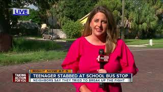 Teen girl stabbed in the back during school bus stop fight in Pinellas County