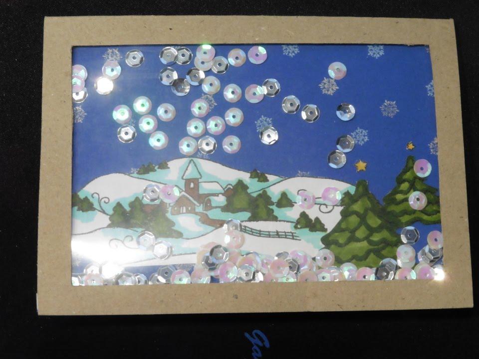 Grußkarten Basteln 19 Schüttelkarte Weihnachtslandschaft Im Schnee