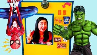 Superheroes Vending Machine kids toys story - 슈퍼 히어로 키즈 자이언트 자동 판매기 아이 장난감 놀이 척
