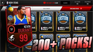 NBA LIVE MOBILE | 200+ PACKS FOR 99 NBA RULER KEVIN DURANT! PLUS CRAZY REACTIONS!