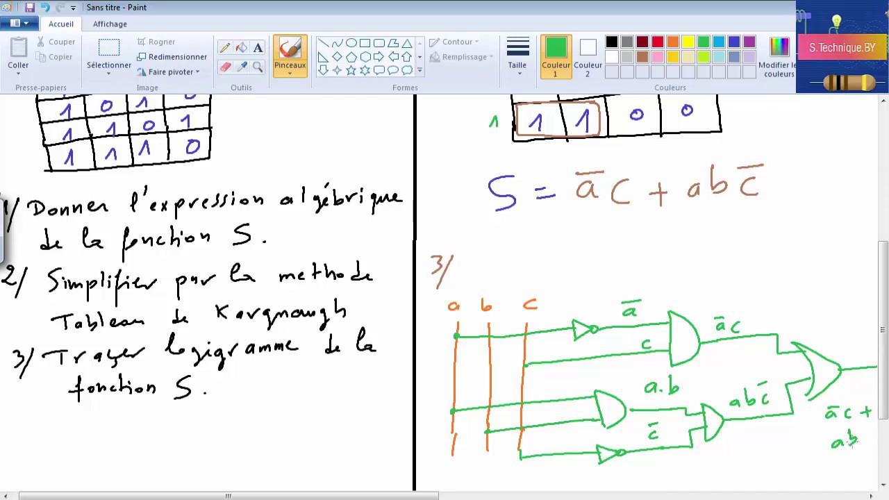 logique combinatoire : exercice corrigé 1 - YouTube