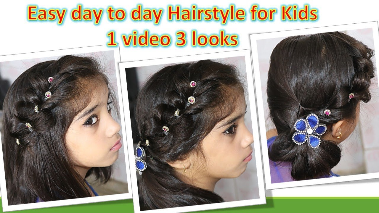 baby hair style - day to day kids hairstyle - easy step by step diy - 1 video 3 looks