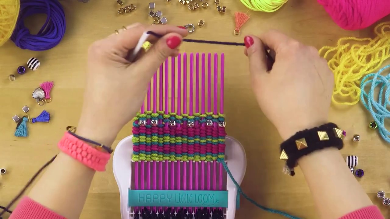 ALEX DIY Happy Little Loom Adding Beads & Changing Colors ...