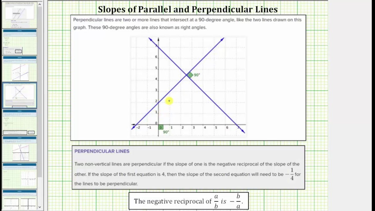 Determine The Equation Of A Line Perpendicular To A Line In Slope