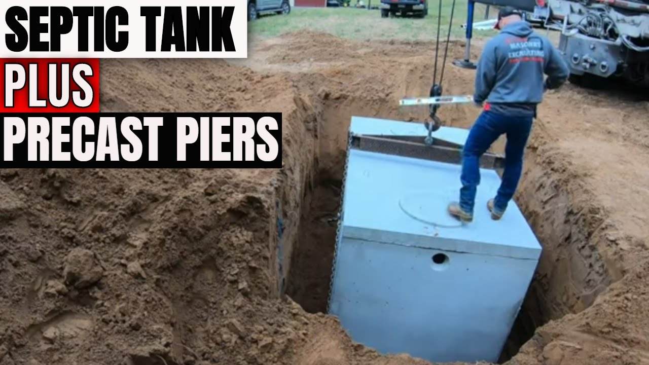 Septic tank install & installing concrete precast deck piers for screen porch