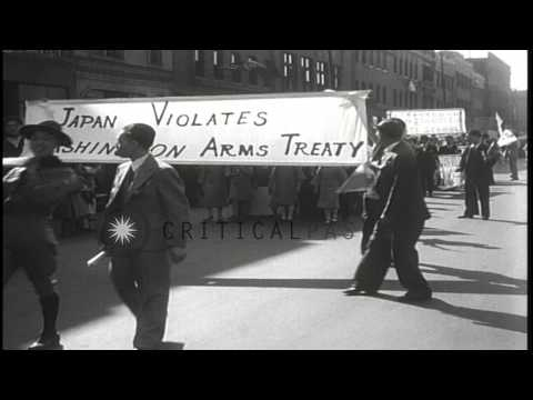 Chinese protest against Japanese violating Washington Arms Treaty in Chicago, Ill...HD Stock Footage