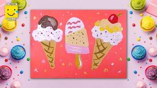 Как нарисовать мороженое - урок рисования для детей 4-12 лет. Дети рисуют десерт, сладости поэтапно