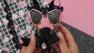 GoThriftyCrafter corset bustier gift bag scrapbooking card pink black Fabrika Decoru