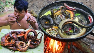 Cooking Coconut Snake eating so delicious  Cook Snake,Ell domestic local Food Recipe in Rain Season