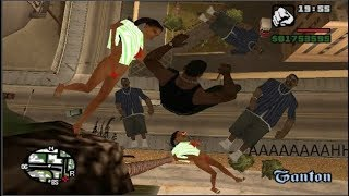 GTA San Andreas - Falling off High Buildings with Pedestrians