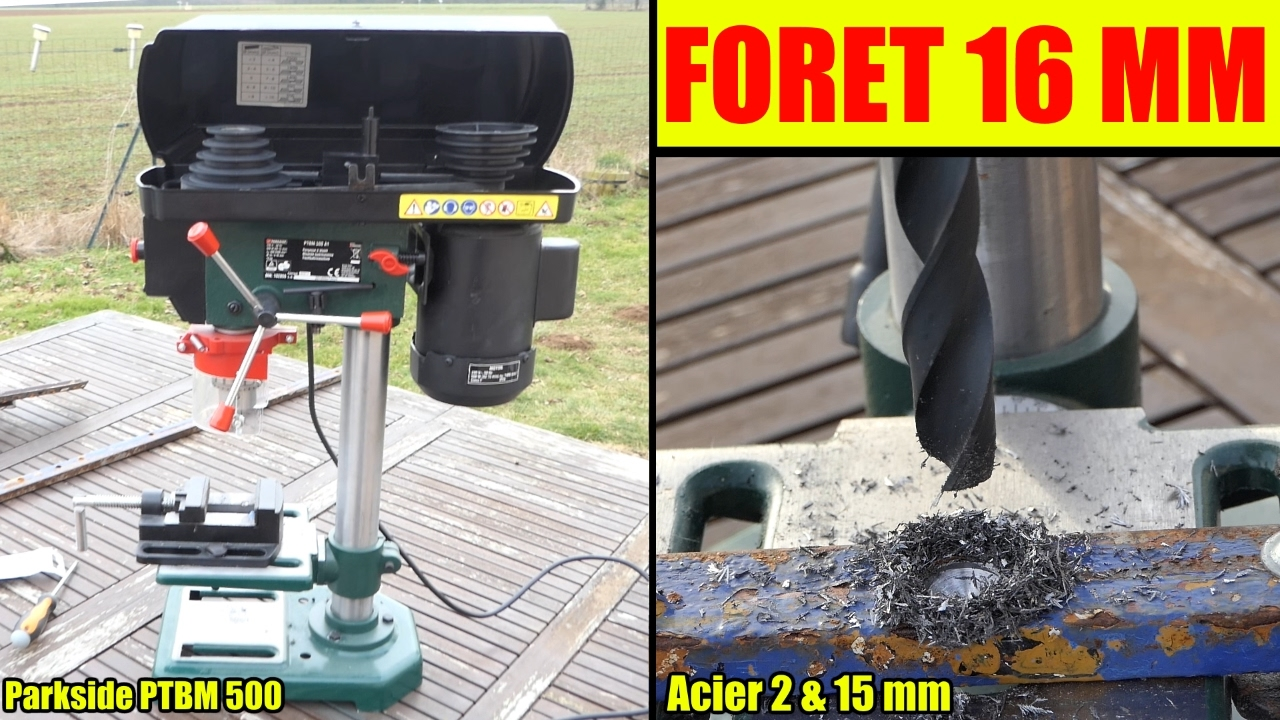 Perceuse à Colonne Lidl Parkside Test Foret Acier 16 Mm Bench Pillar Drill Tischbohrmaschine