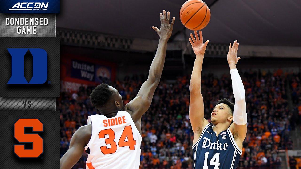 Duke Vs Syracuse Condensed Game 2019 20 Acc Men S Basketball Youtube