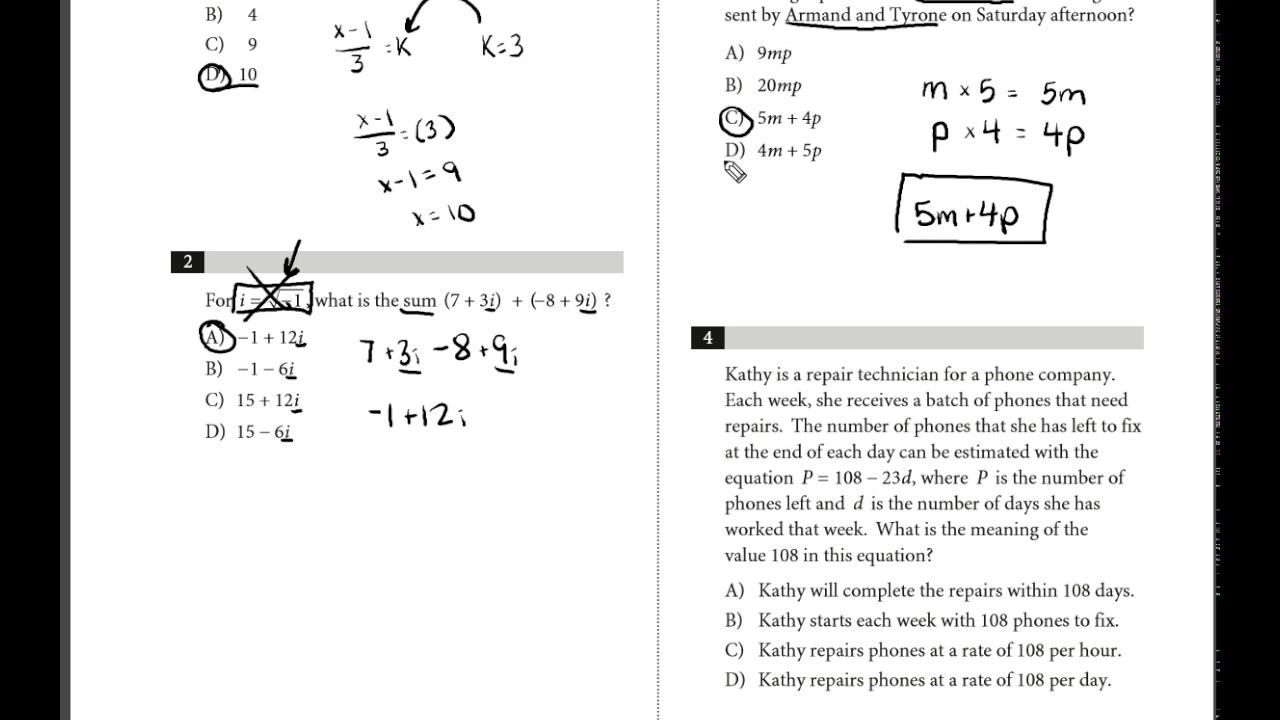 Collegeboard SAT Practice Test 1 MATH Section 3 Q: 1-4
