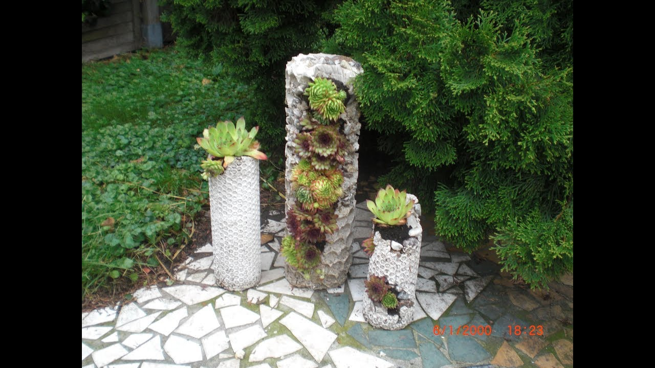 betons ule betonturm mit luftpolsterfolie zum bepflanzen pflanzturm aus beton youtube. Black Bedroom Furniture Sets. Home Design Ideas