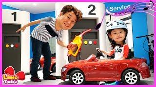 라임이가 BMW 자동차를 타고 이상한 주유소에 가다! 어린이 교통안전교육 부산 파라다이스 호텔편 ride car for kids | LimeTube & Toy 라임튜브