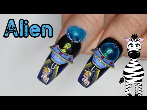 4D Alien in a Spaceship Acrylic Nail Art Tutorial | MelodyMinutes thumbnail
