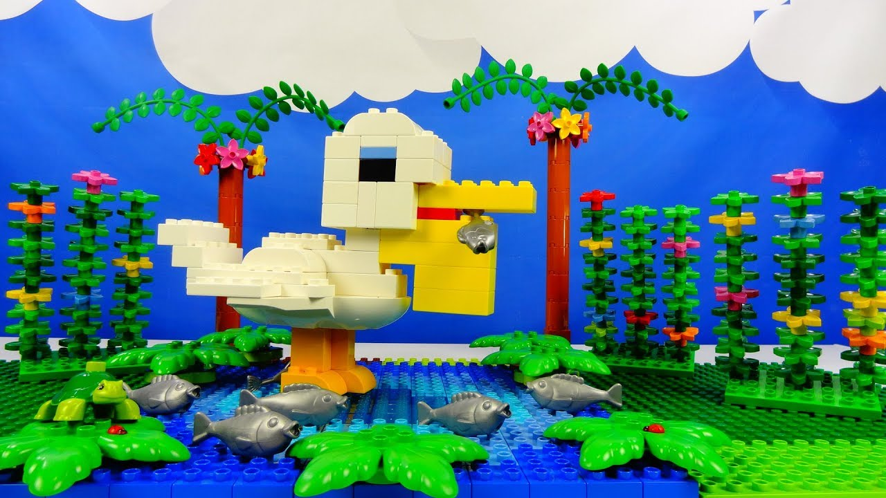 Строим из Lego Duplo, Lego Duplo the figure of a pelican bird - Лего Дупло пеликан, Лего птица