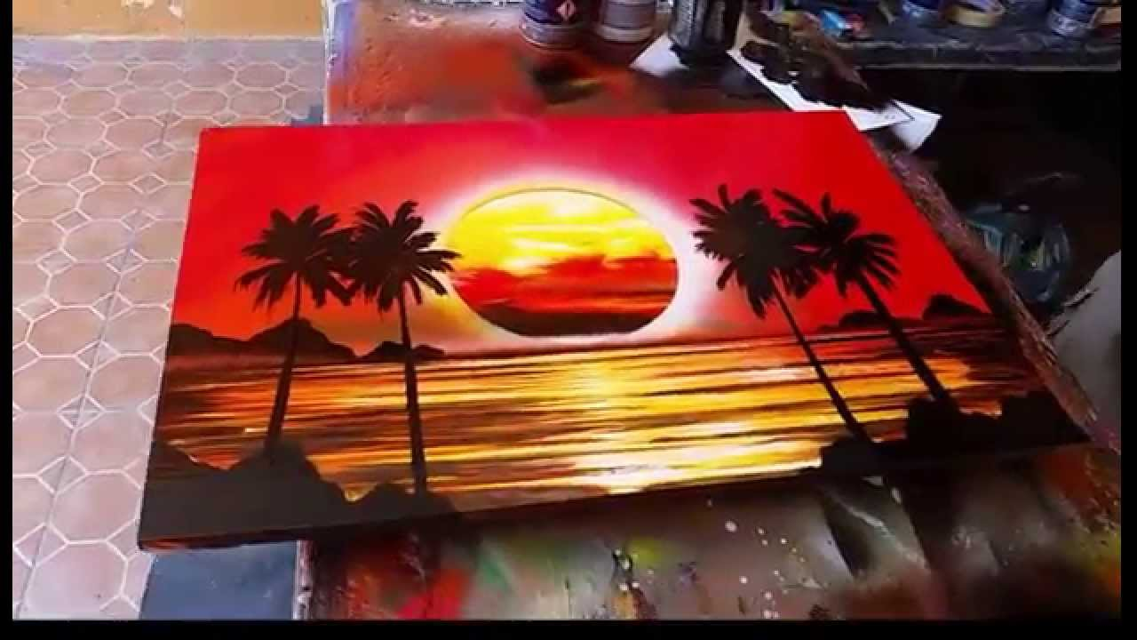 sunset spray art youtube. Black Bedroom Furniture Sets. Home Design Ideas