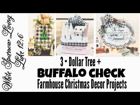 DOLLAR TREE DIY BUFFALO CHECK RUSTIC FARMHOUSE CHRISTMAS DECOR