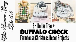 DOLLAR TREE DIY BUFFALO CHECK RUSTIC FARMHOUSE CHRISTMAS DECOR