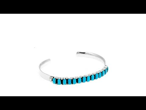 Chaco Canyon 13Stone Zuni Turquoise Cuff Bracelet