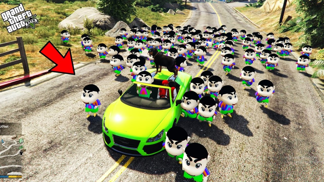 GTA 5 : 1000 Shinchan & Pinchan Attacked And Followed Franklin In GTA 5 ! (GTA 5 mods)