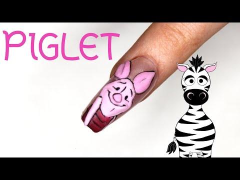3D Piglet Acrylic Nail Art Tutorial | Winnie The Pooh thumbnail