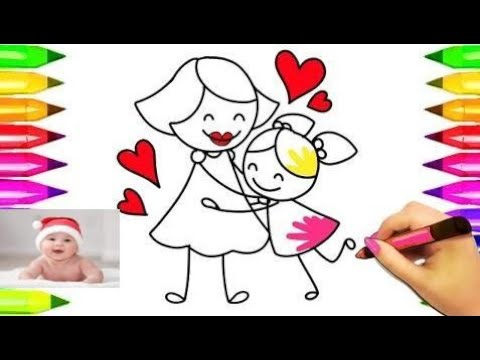 Mom hugging child Coloring Pages | Mothers day colouring book for kids. How to draw mom    #part 27
