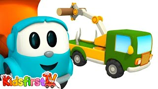 Leo the Truck. Car cartoon and animation for kids. Leo the truck and Loggin truck.