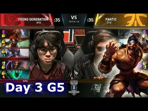 Young Generation vs Fnatic   Day 3 of S7 LoL Worlds 2017 Play-in Stage   YG vs FNC G1