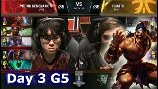 Young Generation vs Fnatic | Day 3 of S7 LoL Worlds 2017 Play-in Stage | YG vs FNC G1