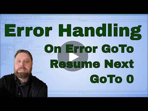 Excel VBA (Macro) On Error GoTo, On Error Resume Next, and GoTo 0 - Code Included