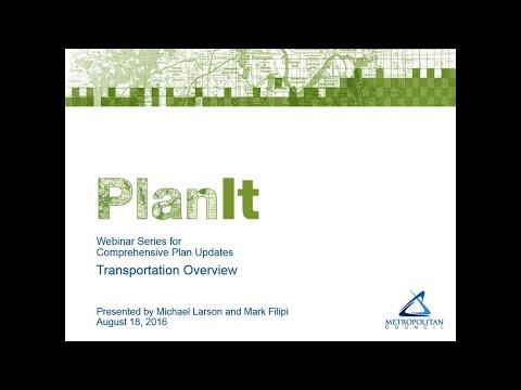 PlanIt:  Transportation Overview Webinar