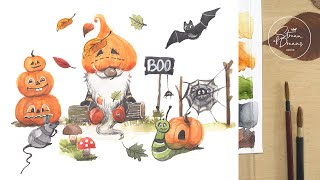 Watercolor Fairy-tale Illustration - Pumpkin Gnome and Little Friends - painting process