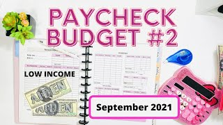 PAYCHECK BUDGET | BI-WEEKLY PAYCHECK 2 | BUDGETING FOR BEGINNERS | SEPTEMBER 2021 | LOW INCOME