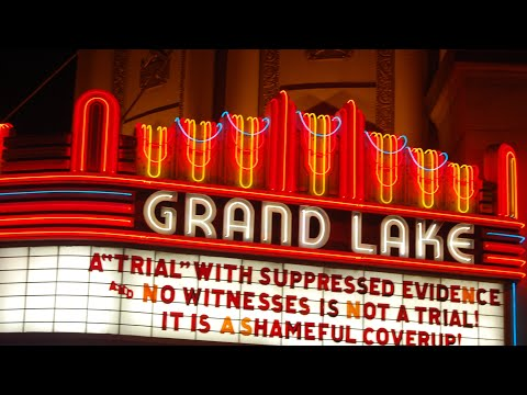 """Grand Lake Theater Oakland Marquee Blasts Trump Impeachment Senate Trial """"Coverup"""""""