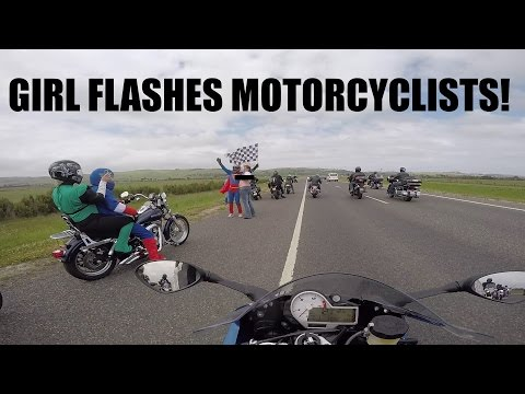 Girl Gets Her Boobs Out For Motorcyclists! 2015 MotoGP Ride!