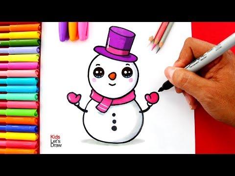 Cómo dibujar y pintar un MUÑECO DE NIEVE Kawaii | How to Draw a Cute Christmas Snowman