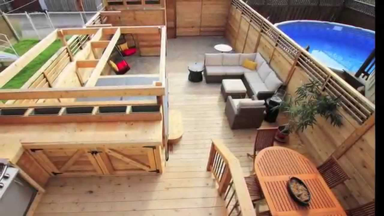 patio avec spa brouillette transformation compl te d 39 une petite cour de verdun montr al youtube. Black Bedroom Furniture Sets. Home Design Ideas
