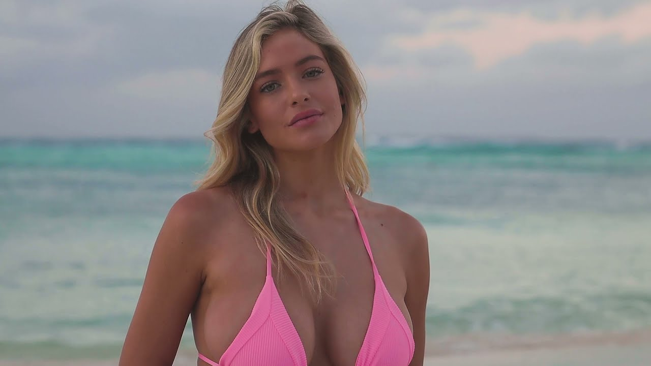 Hannah Palmer Rolls Around In The Cancún Beach Sand | Pink Swimsuit Edition