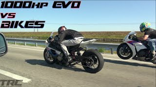Sequential EVO IX battles BMW S1000rr and Honda CBR1000